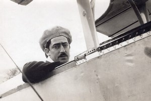 France Aviation Aviator Portrait in Airplane Sad Look Old Photo 1910's