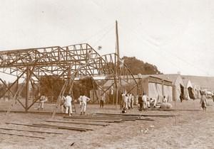 Vesoul Aviation Manoeuvres de l'Est Putting Hangars up Old Photo 1910