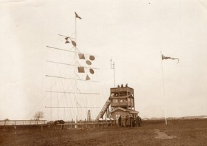 French Aviation Lyon Airshow Timekeepers & Signal Mast Old Photo 1910