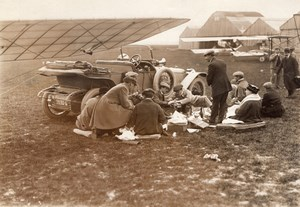 France Chartres Aviation Aviators Group Picnic Automobile Old Branger Photo 1914
