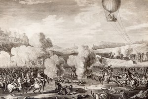 Belgium 1794 Fleurus Battle l'Entreprenant Balloon Old Photo of Gravure 1910