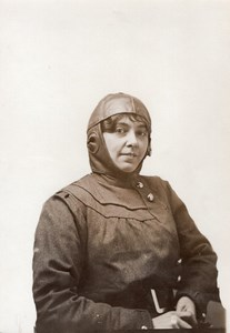 France Aviation Belgian Aviatrix Helene Dutrieu Coupe Femina Old Photo 1910