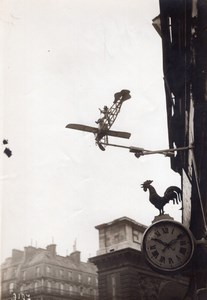 Paris Watchmaker Shop Sign Rooster & Bleriot Airplane Old Photo 1910