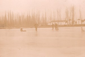 France Angouleme? Winter Scene Ice Skating on Frozen Lake Old Photo Billard 1893