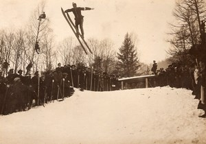 France Chamonix Competition Ski Jumping Winter Crowd old Photo 1907