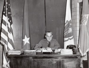 General Edward Sirois at his Desk Office Yankee Division old Photo 1950's