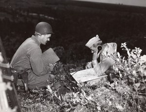 General Edward Sirois using Field Telephone & Map old Ervil Kennett Photo 1950