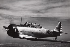 US Army American Fighter or Trainer aircraft In flight Old Photo 1940's ?