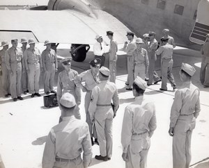 US Army Officers Ceremony at Airfield Airplane Pith Helmets old Photo 1950's