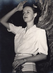 Young Woman Portrait leaning against Tree Old Photo 1950's