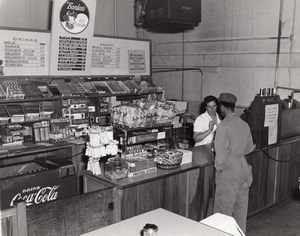 Texas Randolph AFB Air Force Base Mess Shop Coca-Cola Fridge Old Photo 1950's