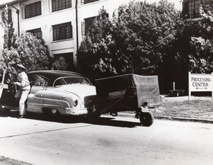 Texas Randolph Air Force Base Military Car & Moving Trailer Old Photo 1950's