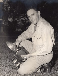 Texas Randolph Air Force Base? Cadet? & his Camera Old Photo 1950's