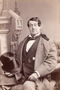 USA Stage Actor William Warren Portrait Theatre Autograph old Photo 1870's