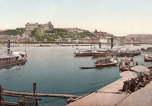 Hungary Budapest Castle Burggarten-Basar Steam Ships PZ Photochrom Photo 1900