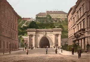 Hungary Budapest Buda Castle Tunnel Varalagut Old PZ Photochrom Photo 1900