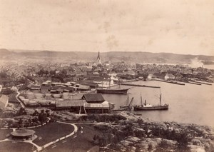 Norway Kristiansand General View Church Harbour old Photo 1890