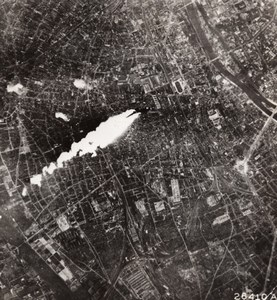 WWII Boeing B-17 Flying Fortress in flames near Paris old Photo 1944