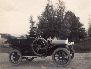 Driver Posing in his nice Automobile Convertible old amateur Photo 1910's