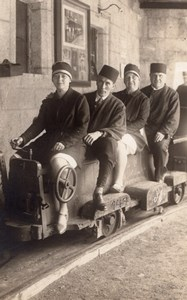 Group on Miniature Train Carriage Railway old Photo Postcard RPPC 1910's