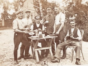 Group of Soldiers having Lunch Militaria old Photo postcard RPPC 1920's