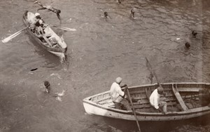 Jamaica Kingston Boats Swimmers Fishermen? Old GJ Becker Photo 1910's