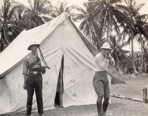Jamaica ? Hunter Pointing Rifle at Photographer Hunting old Photo 1920's