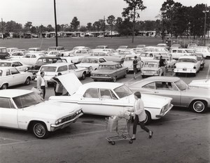 US Air Force Base Supermarket Parking Lot Automobiles Old Photo 1967