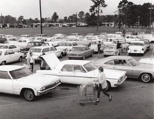 US Air Force Base Supermarket Parking Lot Automobiles Old Photo 1967