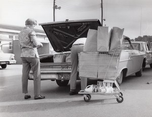 Florida US Air Force Base Supermarket Parking Lot Shopping Cart Old Photo 1967