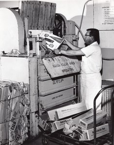 US Air Force Base Supermarket Warehouse Cardboard Bailing Machine Old Photo 1965