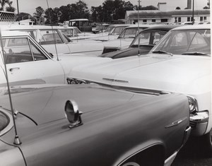 US Air Force Base Military Parking Lot Automobiles Old Photo 1967