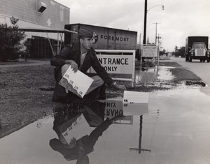 USA Soldier checking Flood depth Commissary sign old US Air Force Photo 1964