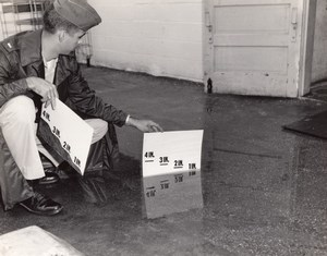 USA Soldier checking Flood depth near a Door old US Air Force Photo 1964