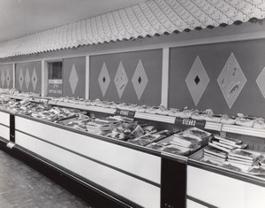 USA Scene at Air Force Base Supermarket Butcher Steaks Military Old Photo 1964