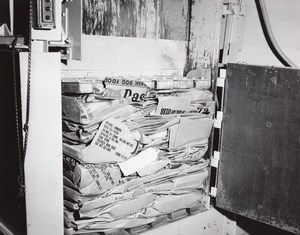 US Air Force Base Supermarket Warehouse Cardboard Bailing Machine Old Photo 1963