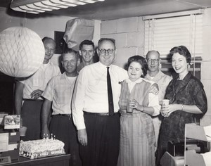 USA Birthday Party Office Workers Air Force Base Military old Photo 1960's