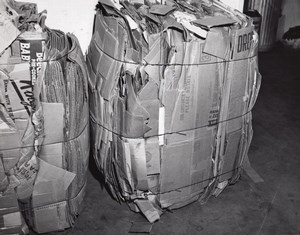 US Air Force Base Supermarket Warehouse Box Bales Old Photo 1963