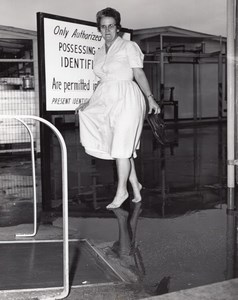 Orlando? US Air Force Base Floods Lady walking Bare feet old Photo 1962