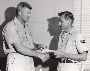 Orlando AFB? Air Force Base Military Men Shaking Hands Old Photo 1960's