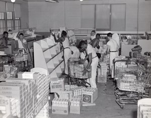 Orlando AFB US Air Force Base Supermarket Stocking Shelves Old Photo 1960's