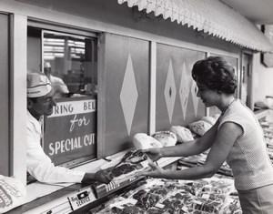 Orlando AFB US Air Force Base Supermarket Butcher Shopper Old Photo 1965