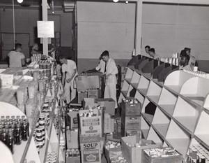 Orlando AFB US Air Force Base Supermarket Stocking Shelves Old Photo 1960's