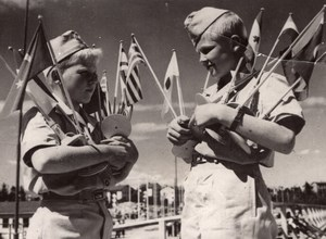 2 Young Boys holding Flags Boyscouts? Scouting? Old Press Photo 1960's