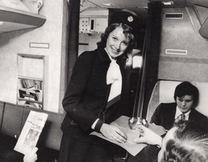Young Air Hostess Rhona Hutchinson British Airways Flight old Press Photo 1975