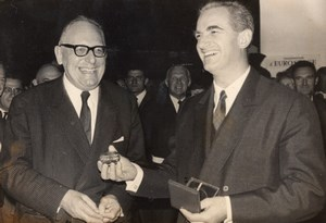 Maurice Schumann Alain Peyrefitte receiving CNES Medal old Press Photo 1967