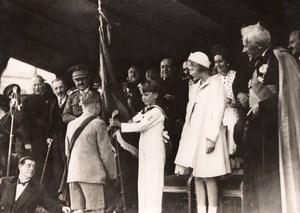 Gembloux Belgian Crown Prince Presenting Flags School old SAFARA Photo 1930's