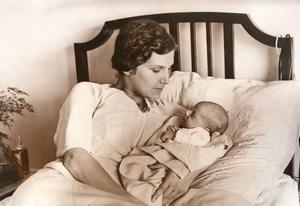 Miss Europe Aliki Diplarakou Weiller & newborn Baby old Meurisse Photo 1933
