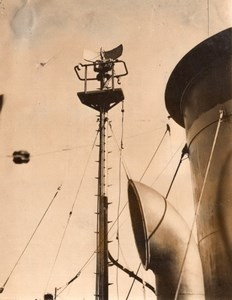 France? Radar on Military Troops Transport Ship old Photo 1945