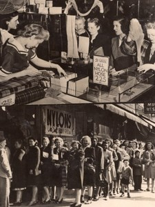 Pennsylvania McKeesport Nylon hose Buyers Queueing Shop old Photo 1945
